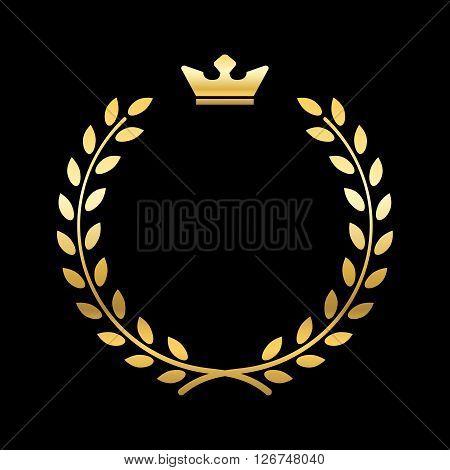Gold laurel wreath with crown. Golden leaf emblem. Vintage design isolated on black background. Decoration for insignia banner award. Symbol of triumph sport victory trophy. Vector illustration.