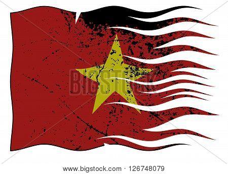 Vietnam Flag Wavy And Grunged