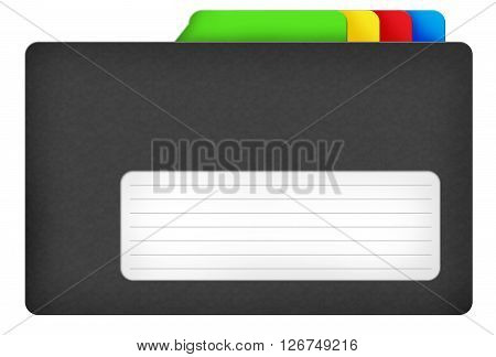 Black file folder illustration with colored bookmarks and blank area isolated over white background