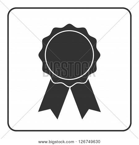 Award medal icon. Badge ribbons sign. Best guarantee Symbol medal prize certificate. Emblem victory quality. Winner achievement sign isolated on white background. Flat design. Vector illustration.