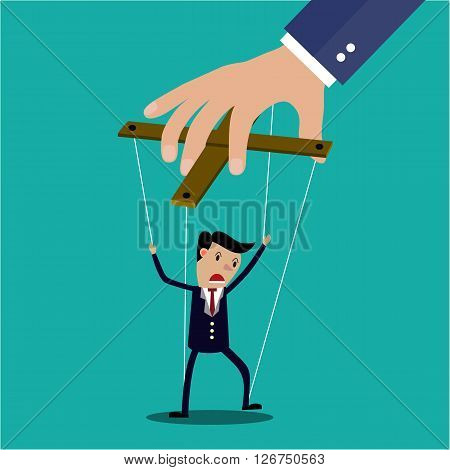 Cartoon Businessman marionette on ropes controlled by hand, vector illustration in flat design on green background
