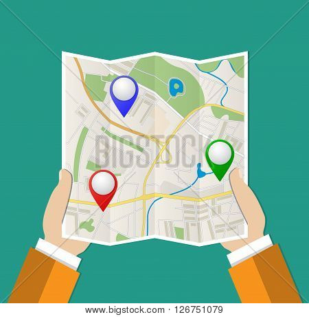 Folded Paper Map with color point markers In Hand, Abstract generic city map with roads, buildings, parks, river and with pin pointers. Vector Illustration in flat design on green background
