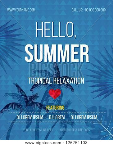Tropical Summer vector background. Hello Summer Beach Party Flyer. Vector background. With Typography