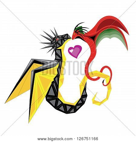 Two dragons in love black and red soaring in the sky