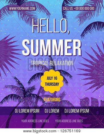 Tropical Summer vector background. Hello Summer Beach Party Flyer. Vector background. Hand lettering typography poster.