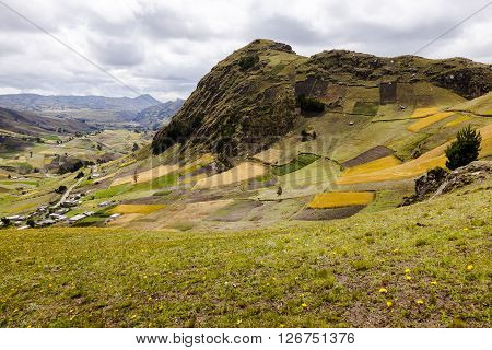 Farms and crops on slopes near Zumbahua province of Cotopaxi Ecuador