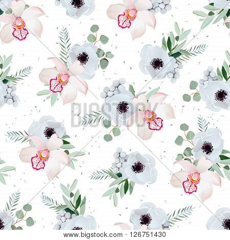 Orchid anemones brunia flowers and eucaliptis leaves. Seamless vector pattern with minty dotted backdrop.