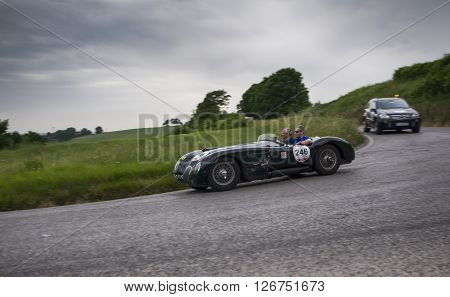 PESARO, ITALY - MAY 15: JAGUAR C-Type 1952 on an old racing car in rally Mille Miglia 2015 the famous italian historical race (1927-1957) on May 2015