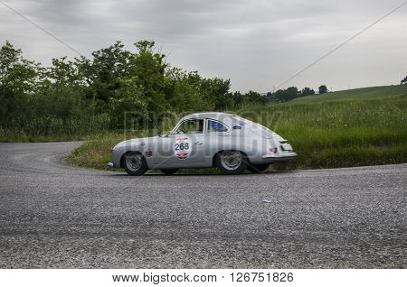 PESARO, ITALY - MAY 15: PORSCHE 356 1500 Coupé 1953 on an old racing car in rally Mille Miglia 2015 the famous italian historical race (1927-1957) on May 2015