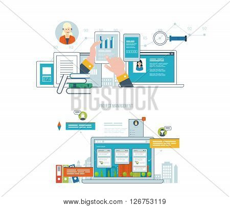 Concept for business analysis, financial report, investment, consulting, strategy planning, project and strategic management, market data analytics. Investment growth. Management consulting.