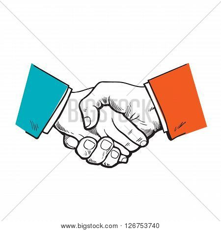 Painted handshake. the partnership. symbol of friendship, partnership and cooperation. Sketch handshake. A strong handshake. Business and handshake. The cooperation of people, firms.