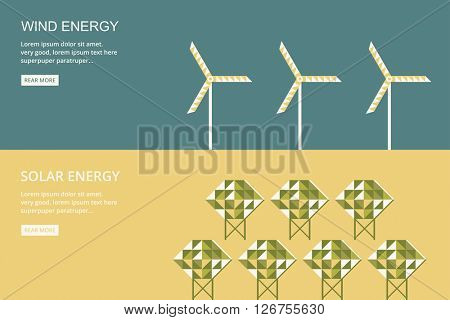 Green energy. Wind energy. Solar energy. Flat design vector concept illustration