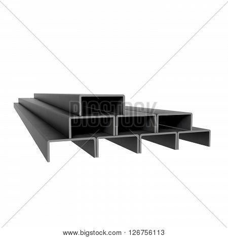 Metal rectangular beams stack at white background