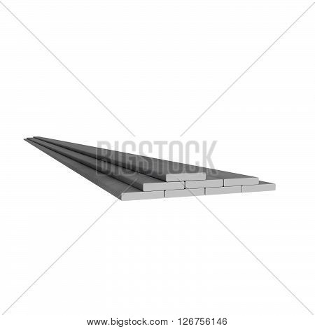Plane metal rectangular rods at white background