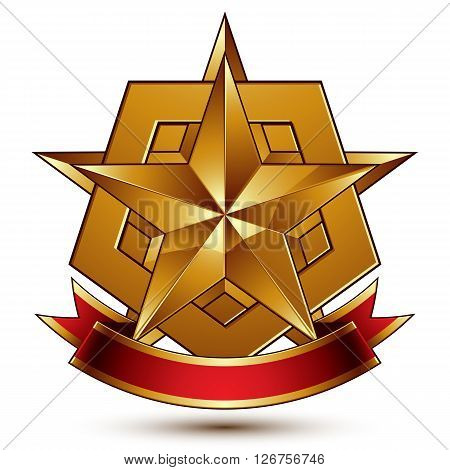 Vector glorious glossy design element luxury 3d pentagonal golden star placed on a decorative blazon conceptual graphic coat of arms with wavy red ribbon clear EPS 8.