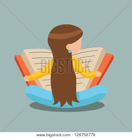 Young Girl Reading Book Sitting Floor Characters Icon Symbol Stylish Isolated cartoon Design Concept Template Vector Illustration