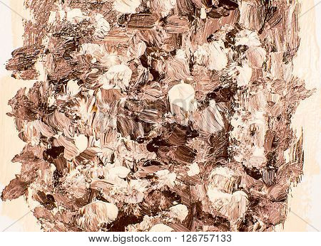 Beige brown brushstrokes, hand painted acrylic background