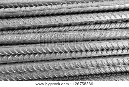 Metallic textured grey armature horizontal rows background