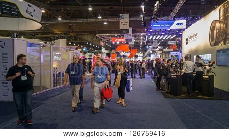 LAS VEGAS - April 18, 2016: NAB 2016, an annual trade show by the National Association of Broadcasters.1700+ exhibitors on 2000000 sq feet space of Las Vegas Convention Center.
