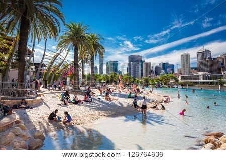 BRISBANE, AUS - APRIL 17 2016: Streets Beach in South Bank Parkland. It's inner-city man-made beach next to city center.