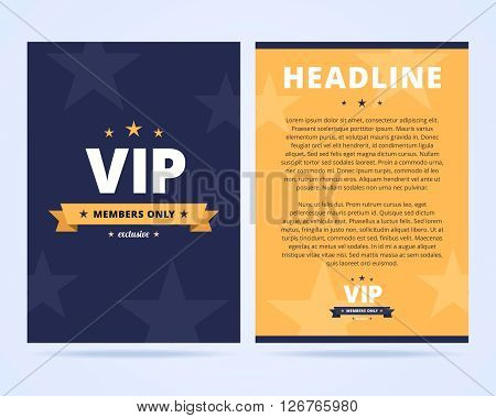 VIP club flyer layout. Two sided flyer template with VIP label. Vector illustration in flat style.