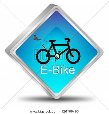 blue e-bike button 3D Illustration on white background