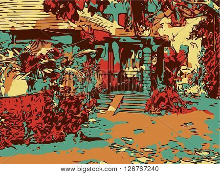 Indian landscape digital graphic artwork in Goa, Baga, vector sketch of old town with palms and house, good for postcard design or book illustration