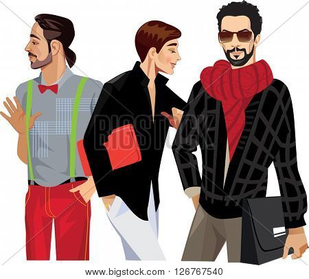 three fashionable men