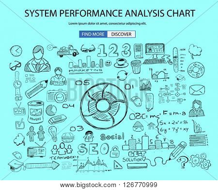 System Performance Analisys concept wih Doodle design style :finding solution, brainstorming, creative thinking. Modern style illustration for web banners, brochure and flyers.