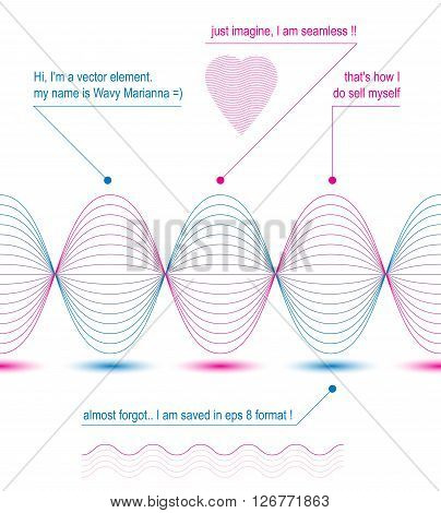 Slender 3d textile motif background heart with curved stripy flowing lines