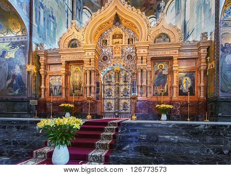 SAINT PETERSBURG, RUSSIA -APRIL 15, 2016: Iconostas  in the Church of Saviour on Spilled Blood.   Church was built on the site where Emperor Alexander II was fatally wounded in March 1881