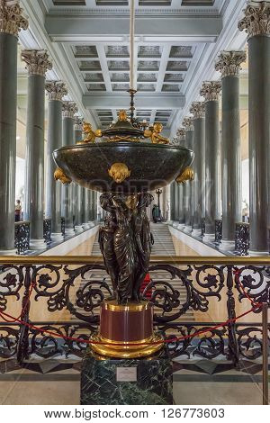 SAINT PETERSBURG, RUSSIA - MARCH 03, 2016:  Interior with sculpture of the State Hermitage (Winter Palace). Hermitage is one of the largest and oldest museums of art and culture in the wor