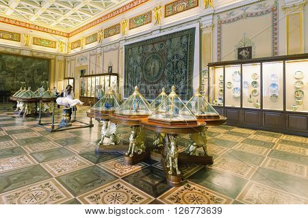 ST. PETERSBURG, RUSSIA - MARCH 03, 2016:  Interior of the State Hermitage (Winter Palace). Hermitage is one of largest and oldest museums of art and culture in the world