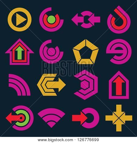 Vector Flat Simple Navigation Pictograms Collection. Set Of Yellow And Purple Corporate Abstract Des
