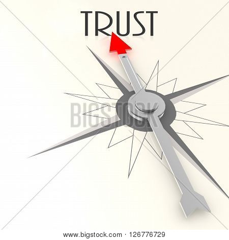 Compass with trust word image, 3D rendering