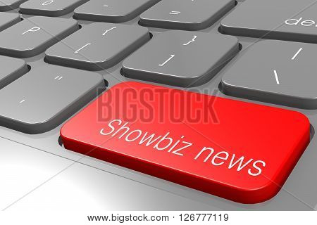 Showbiz news word on red keyboard button image, 3D rendering