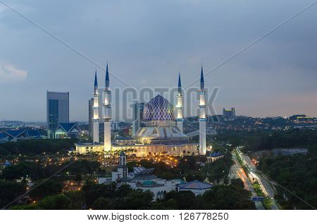 The beautiful Sultan Salahuddin Abdul Aziz Shah Mosque (also known as the Blue Mosque) located at Shah Alam Selangor Malaysia.