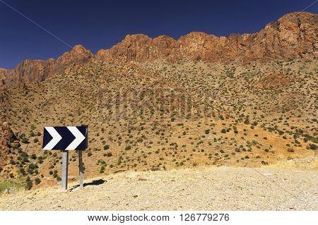 Winding road in in Antiatlas Mountains, Morocco, Africa