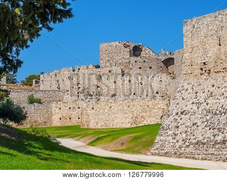 Rhodes ancient old town stone walls, Rhodes island, Greece.