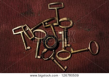 A group of old gold keys closeup