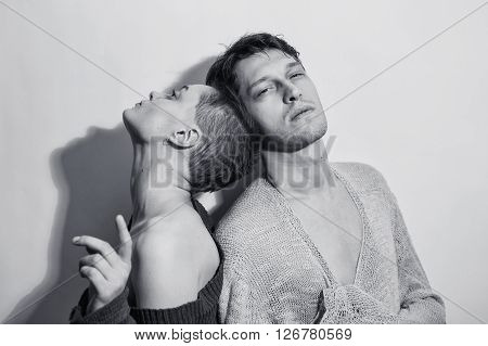 Studio Portrait Of A Young Man And Woman