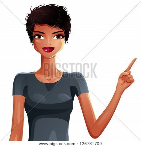 Bright Drawing Of A Gorgeous Brunette Sexy Mulatto Lady Pointing Finger At Some Empty Space To Side,