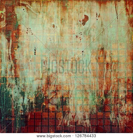 Vintage style shabby texture or background with classy grungy elements and different color patterns: yellow (beige); brown; green; red (orange); gray; cyan