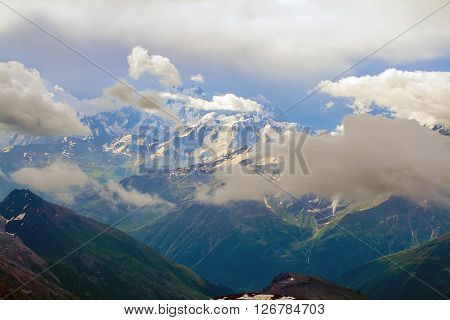 Extreme climbing Elbrus. Amazing scenery of snow-capped mountains.