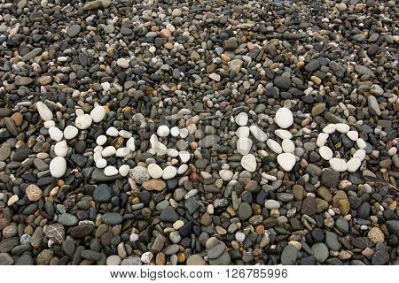 The Sign Yes No Made From White Pebbles