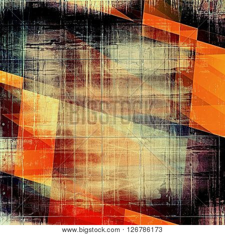 Geometric creative elegant design used as retro background for your art project. With grunge texture and different color patterns: yellow (beige); brown; red (orange); pink; black
