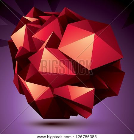 Abstract Asymmetric Vector Red Object Constructed From Different Elements, Complicated Geometric Sha