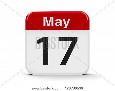 Calendar web button - The Seventeenth of May - World Telecommunication and Information Society Day three-dimensional rendering 3D illustration