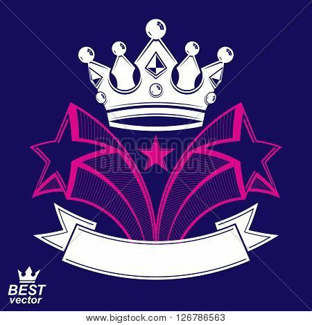 Imperial stylized vector symbol monarch element. 3d crown with flying stars and curvy ribbon.
