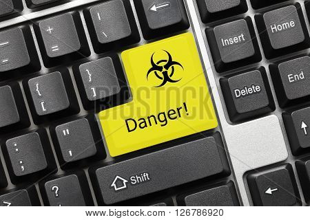Conceptual Keyboard - Danger (yellow Key With Biohazard Symbol)